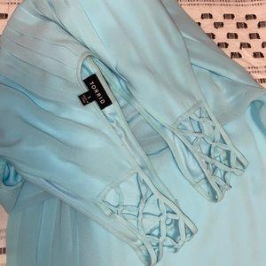 Lattice strap turquoise dress